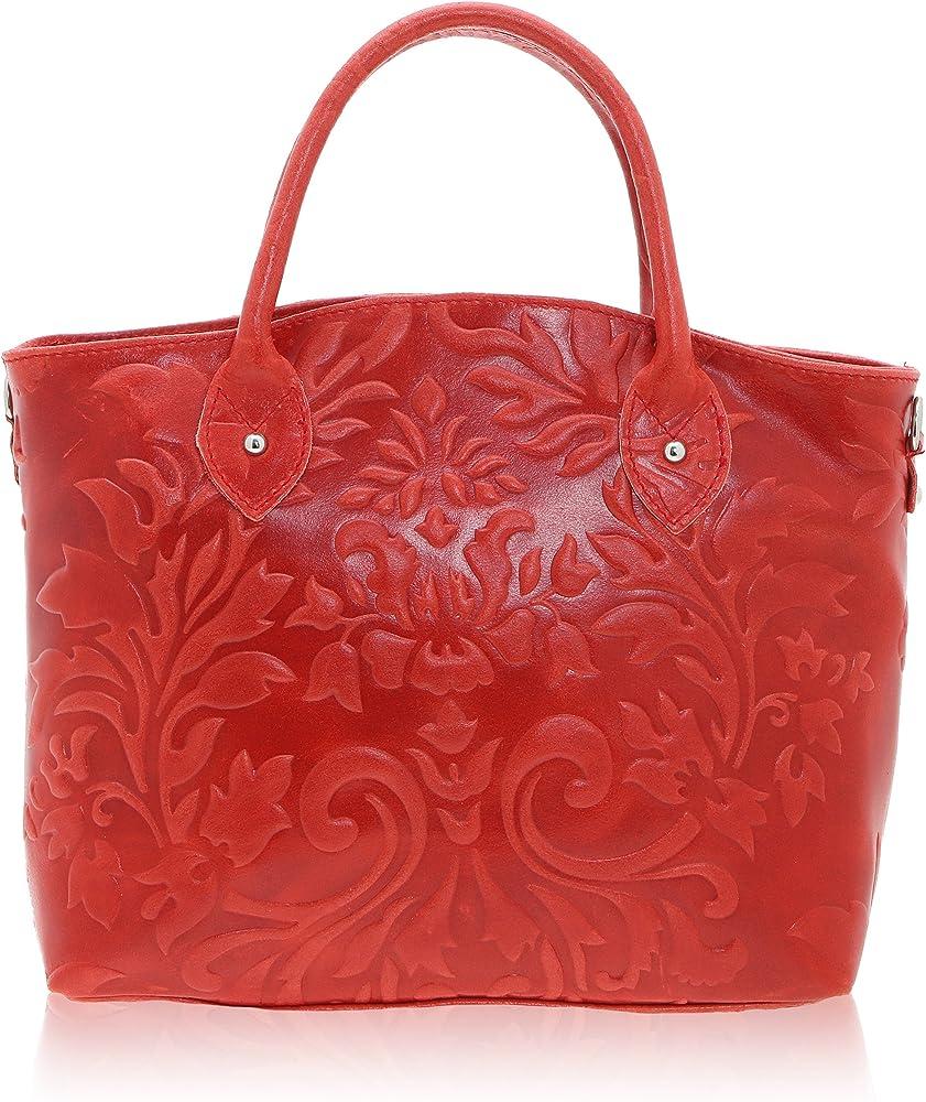 Chicca borse handbag,  borsa a mano da donna,  in vera pelle, made in italy,  DDD80070-ROSSO