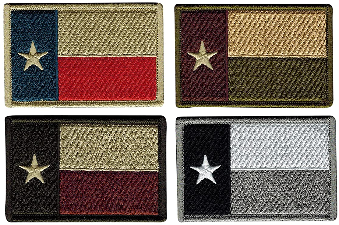 Bundle of 4 Texas Tactical Flag Patches, Multi-Colored, by JAS Drapery