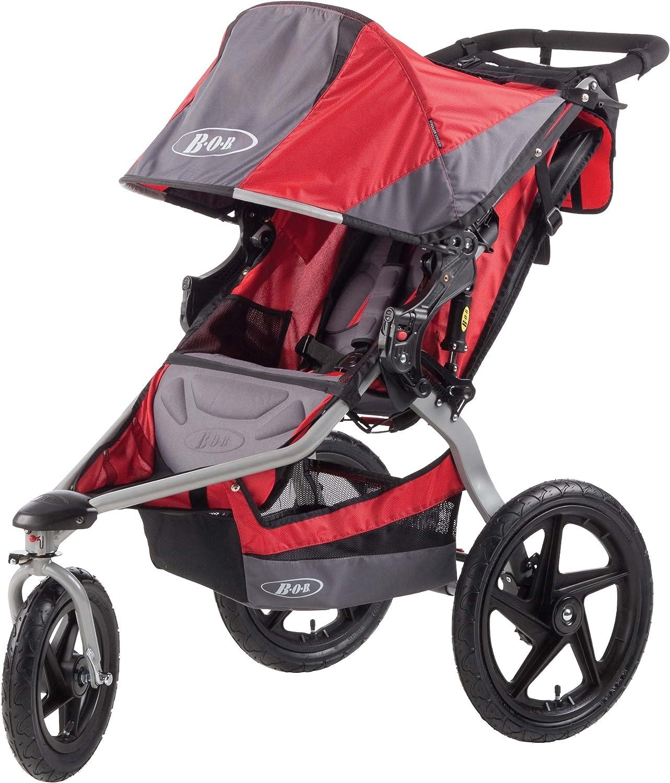 Cochecito todoterreno de 3 ruedas color gris y rojo BOB Revolution SE