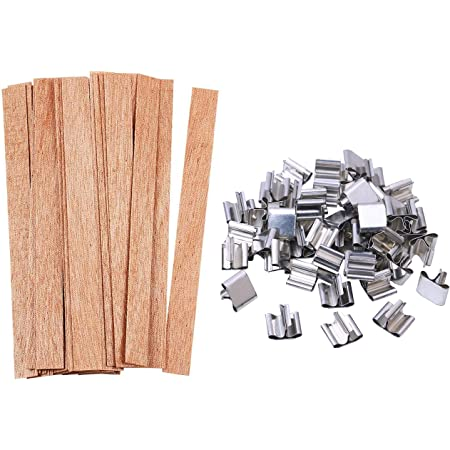 60 PCS Candle Wicks with Iron Stand FOXNSK 3 Different Size Wood Candle Wicks Natural Environmentally Friendly Candle Cores for DIY Candle Making Craft