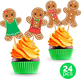 Gingerbread Man Cupcake Toppers Cake Picks - Christmas Party Decorations Supplies Winter Holiday - 24 PCS