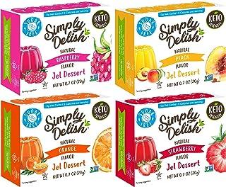 Simply Delish Sugar-Free Gluten-Free Natural Jel Dessert 4 Flavor Variety Bundle, (1) Each: Raspberry, Peach, Strawberry, ...