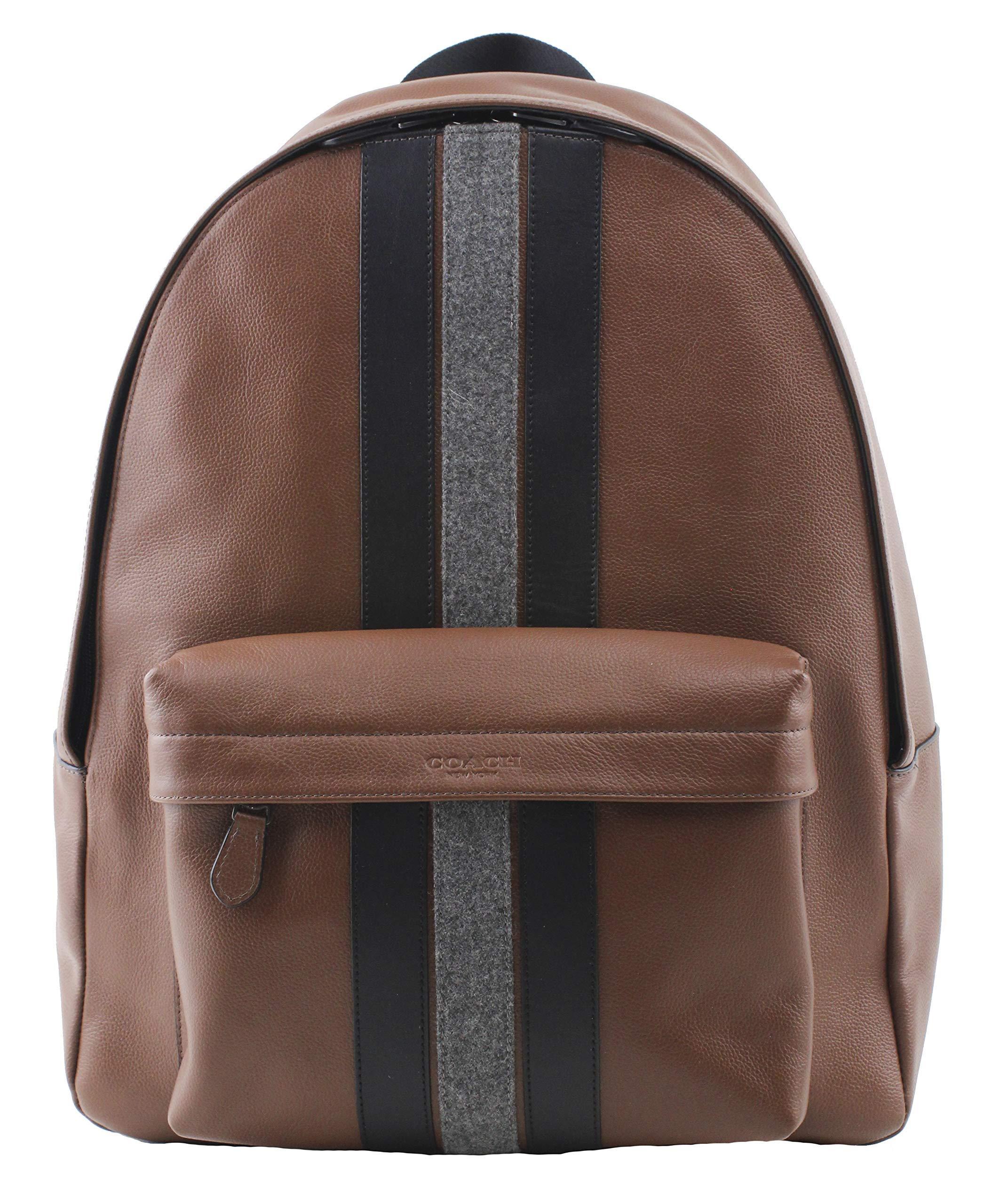 QB//Black Coach Coach New York F11250 Charles Pebble Leather Baseball Stitch Backpack Bookbag
