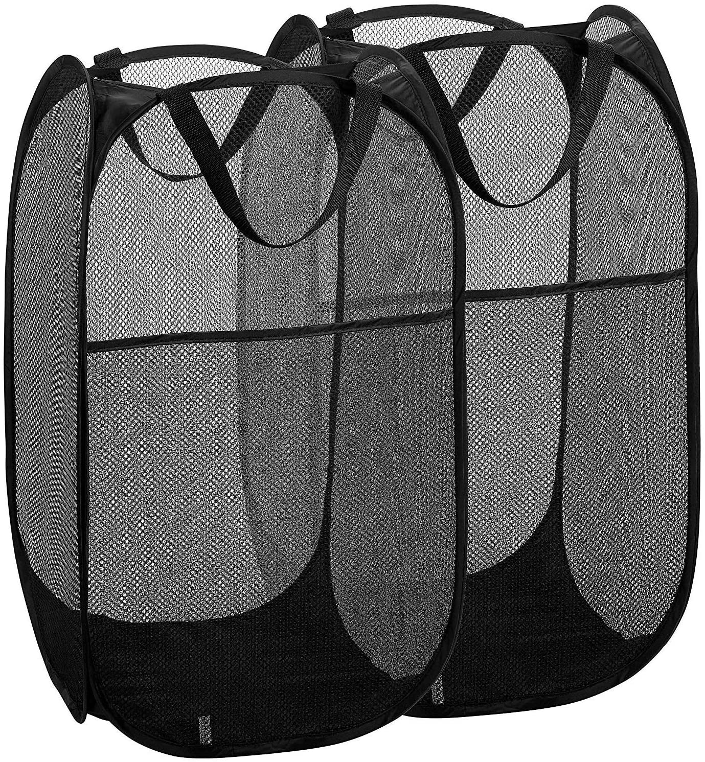 2 Packs Mesh Pop overseas up Laundry Durabl with Black Hamper Portable free