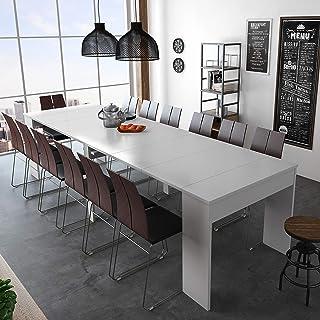 SelectionHome - Mesa de Comedor Consola Extensible hasta 301 cm Acabado Blanco Brillo Medidas Cerrada: 90x49x75 cm de Alto