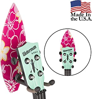 String Swing Ukulele Adhesive Wall Mount Surfboard Stand for Mandolin and Ukele– Concert Pineapple Soprano Tenor and Baritone Compatible – Case Alternative Kit for Home or Studio - Surfboard CC62UK-SP