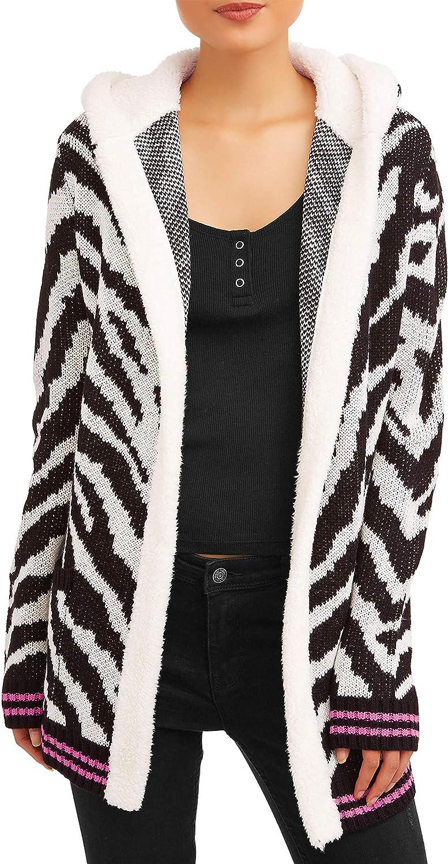 Junior's Sherpa Hood Cardigan (X-Small 1, Zebra)