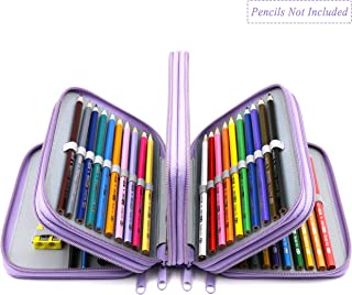 YOUSHARES 72 Holders Handy Multi-layer Zipper Pencil Case with Handle Strap, Oxford Fabric, Purple