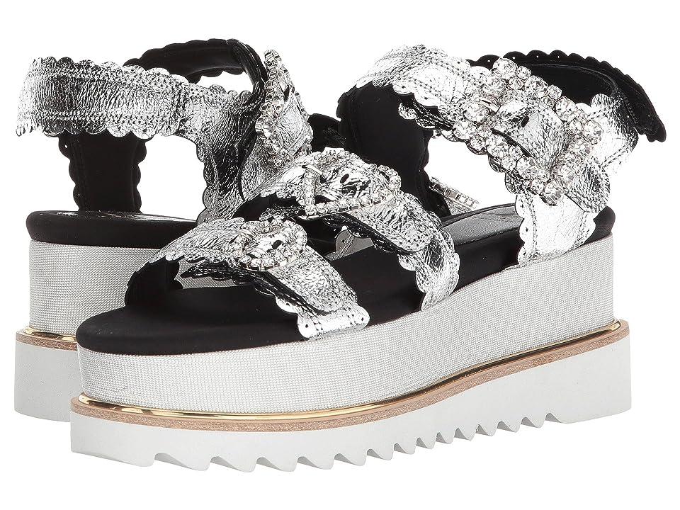 Suecomma Bonnie Jewel Buckle Platform Sandals (Silver) Women