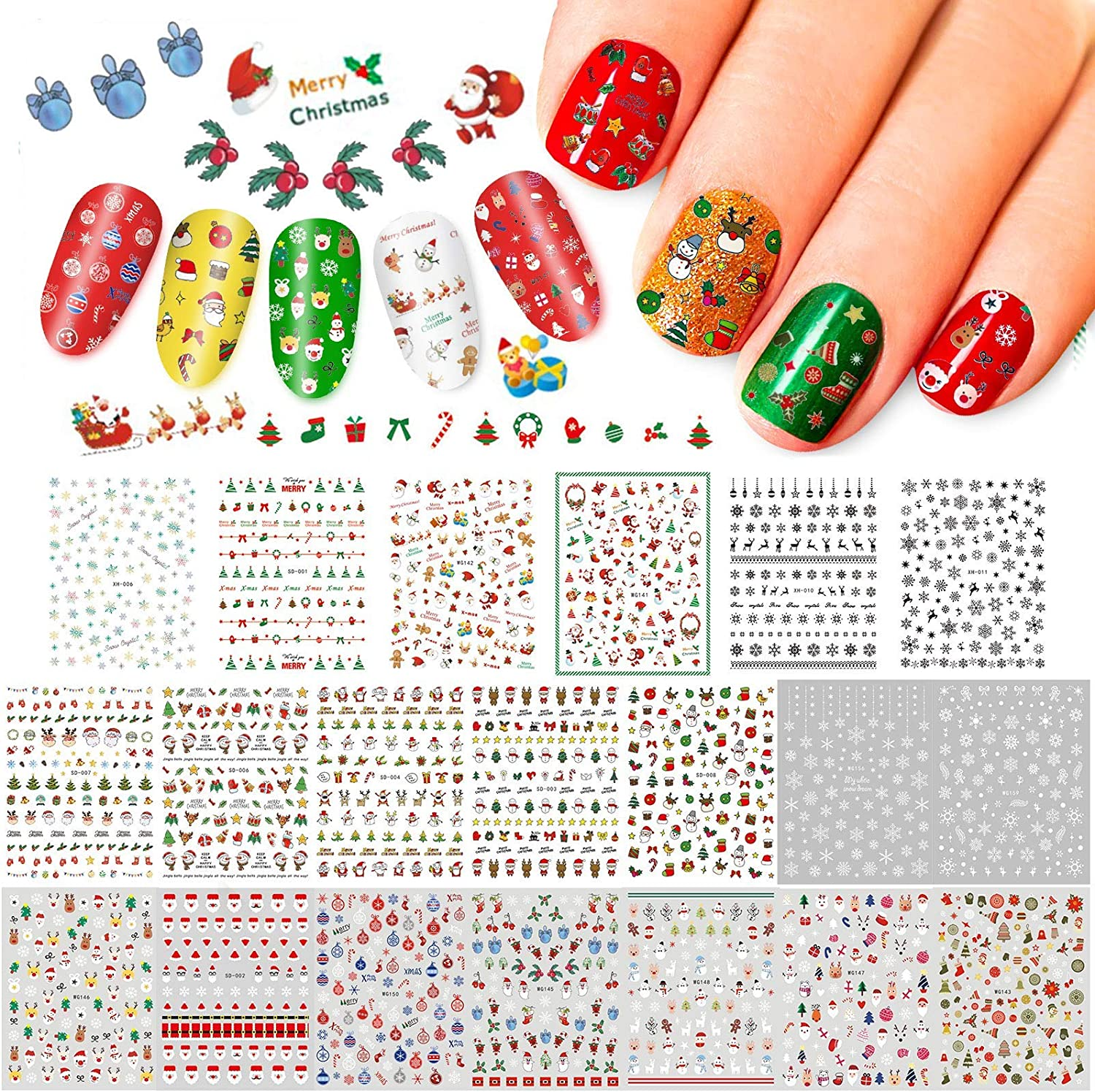 Whaline 20 Sheets Christmas Sale Special Price Nail Fixed price for sale Self-Adhesive 3D Stickers Art