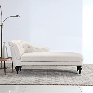 DIVANO ROMA FURNITURE Large Classic Tufted Button Linen Fabric Living Room Chaise Lounge with Nailhead Trim (Beige)