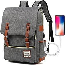 UGRACE Vintage Laptop Backpack with USB Charging Port, Elegant Water Resistant Travelling Backpack Casual Daypacks School ...