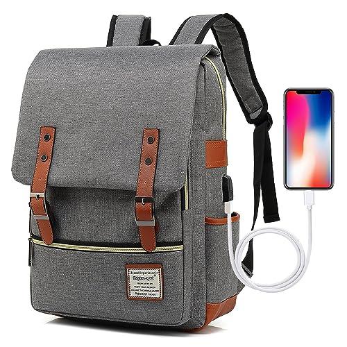 UGRACE Vintage Laptop Backpack with USB Charging Port, Elegant Water  Resistant Travelling Backpack Casual Daypacks dce3dcd8b5