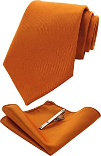 52dc9b68327a RBOCOTT Solid Color Tie and Pocket Square, Tie Clip Set for Men