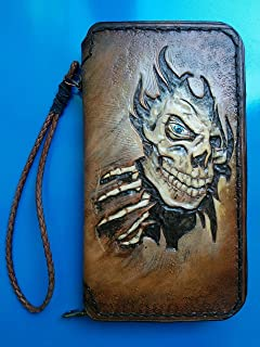 Men's 3D Genuine Leather Wallet, Long wallet, Travel wallet, Biker wallet, Clutch wallet, Hand-Carved, Hand-Painted, Leather Carving, Custom wallet, Personalized wallet, Skull, Skeleton
