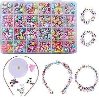 Perles pour Enfants,DIY Perles Plastique Coloré 24 Compartiments Kit De Loisirs Créatifs L'atelier De Bijoux Fabrication d...