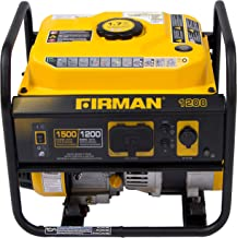 Firman P01202 1500/1200 Watt Recoil Start Gas Portable Generator cETL and CARB Certified with 12V-8.3A Charging Outlets, 54 lb, Black/Yellow