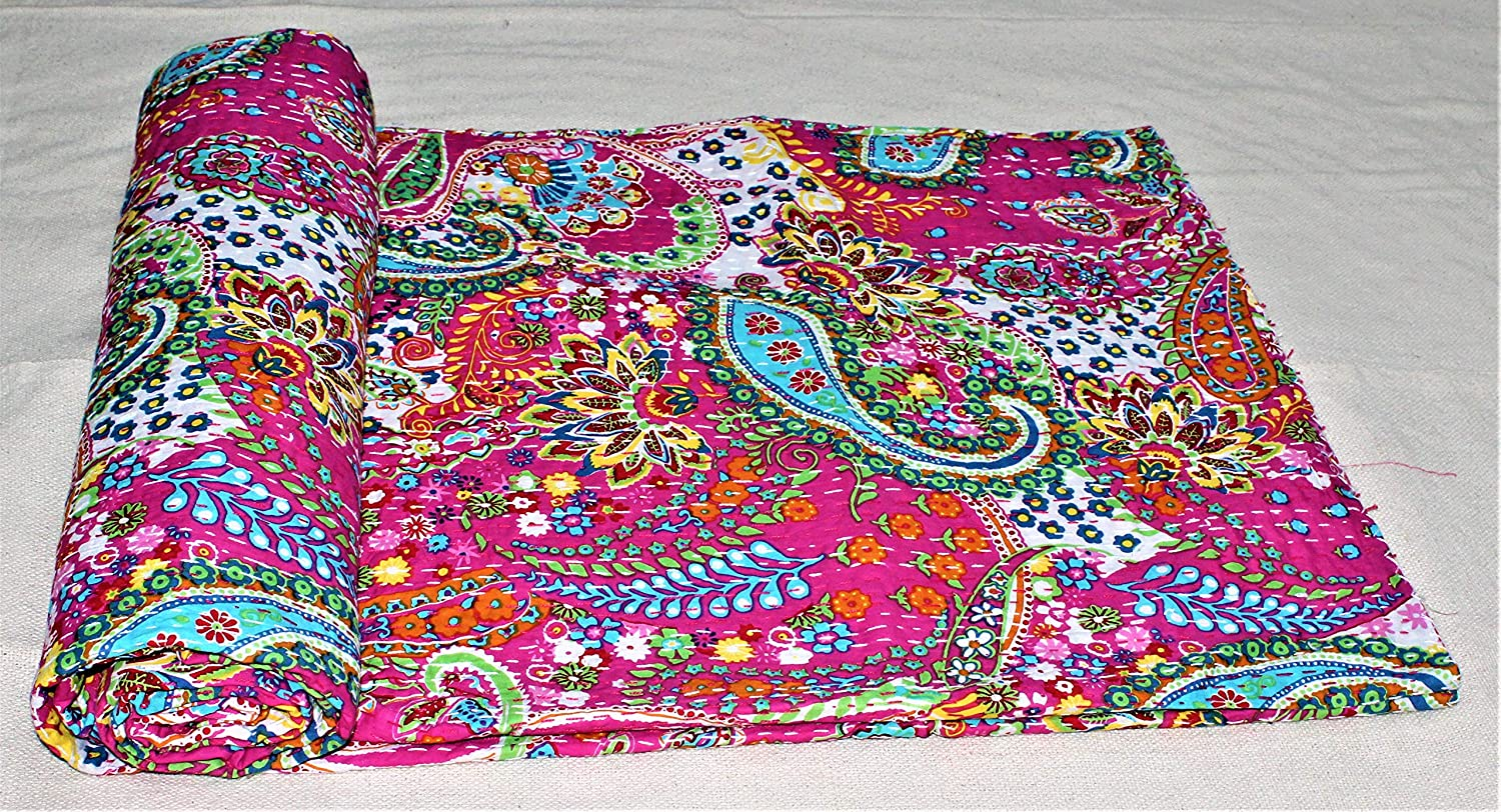 Spring new work Pink Paisley Printed It is very popular New Handmade Kantha Bedco Bedspread Quilt