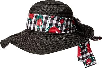 Betsey Johnson Womens Gingham Floppy Hat