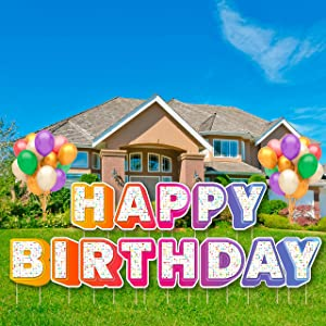 borno Birthday Yard Signs with Stakes – Premium Happy Birthday Sign for Yard - 16-inch Happy Birthday Lawn Letters – Weather-Resistant Happy Birthday Lawn Signs – Colorful Design – Balloons Included