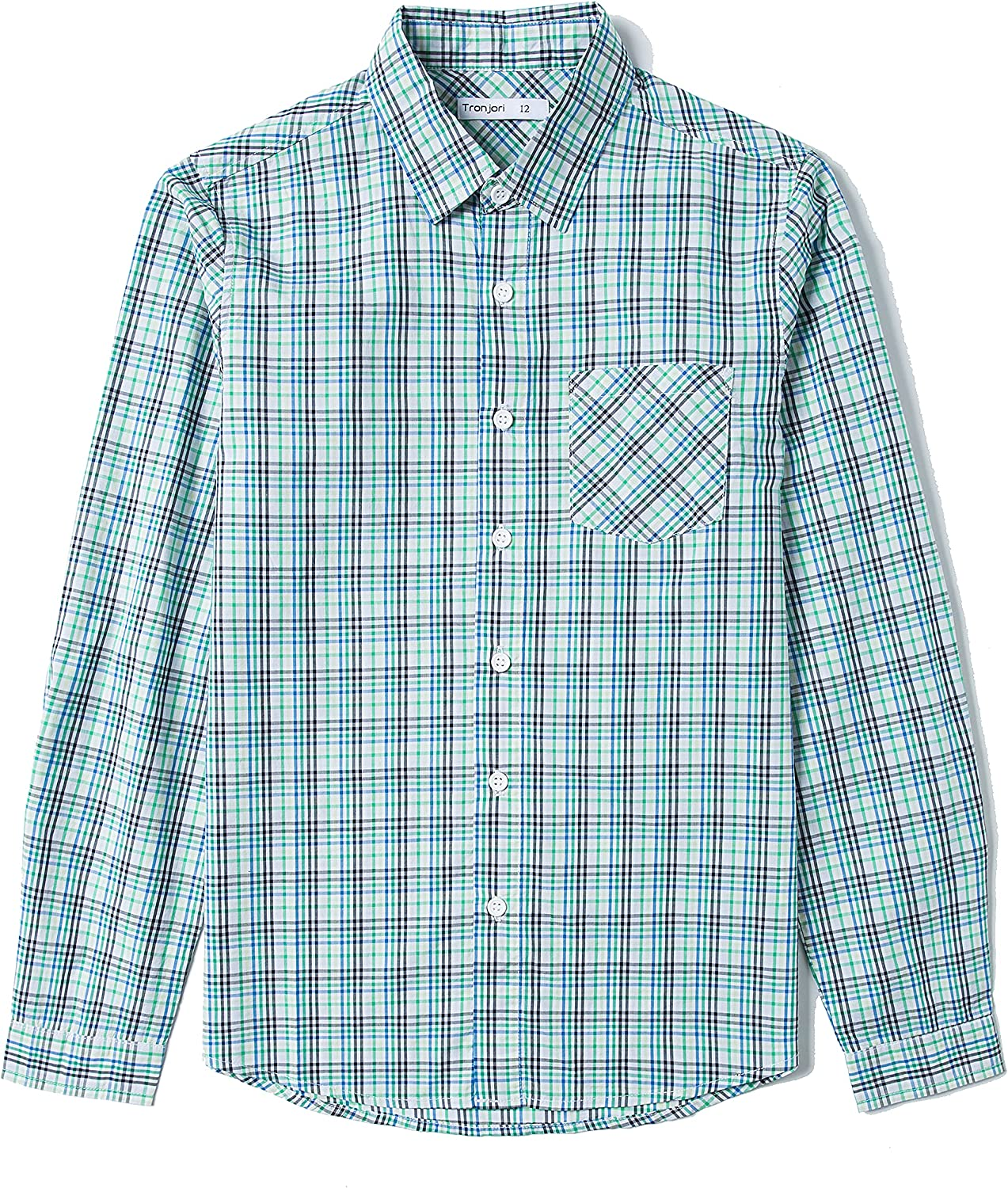 Tronjori Boy's Long Sleeve Down 2021 autumn and winter new Shirt Button Low price Woven