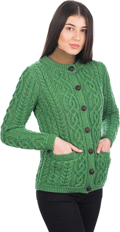 100% Merino Wool Ladies Irish Buttons Knit Cardigan with Pockets