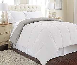 Amrapur Overseas Goose Down Alternative Microfiber Quilted Reversible Comforter / Duvet Insert - Ultra Soft Hypoallergenic Bedding - Medium Warmth for All Seasons - [Full/Queen, White/Grey]