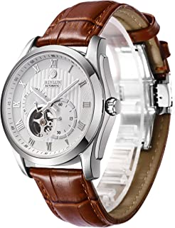 BINLUN 腕時計 メンズ 自動巻 ビジネス 両面 スケルトン シースルーバック 機械式腕時計 ブラウン レザーバンド Dバックル ウォッチ [並行輸入品]