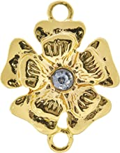 Cousin Simple Charm Connector, Gold Flower with Rhinestone, 1-Pack