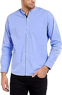 Maniac Men's Fullsleeve Mandarin Collar Self Textured Lite Blue Cotton Shirt
