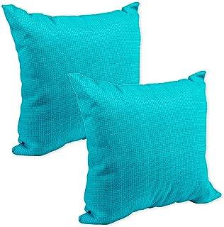 Aqua Blue Aquarius Tiny Weave Print 16 x 16 Indoor Outdoor Throw Pillow - Pack of 2