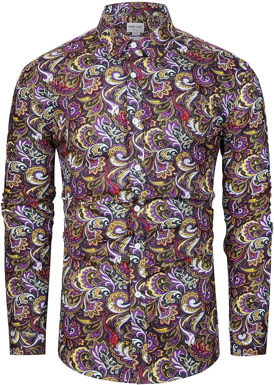 1960s Mens Shirts | 60s Mod Shirts, Hippie Shirts TUNEVUSE Men Floral Dress Shirts Long Sleeve Casual Button Down Flower Printed Shirts 100% Cotton  AT vintagedancer.com