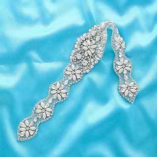 Fabrichouse Clear Beaded Sewing Bridal Wedding Dress Belt Crystal Rhinestone Applique Trim Handmade Decor Hotfix Clothing Accessories (Silver)