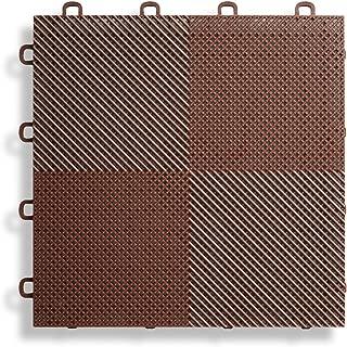 BlockTile B2US5230 Deck and Patio Flooring Interlocking Tiles Perforated Pack, Brown, 30-Pack