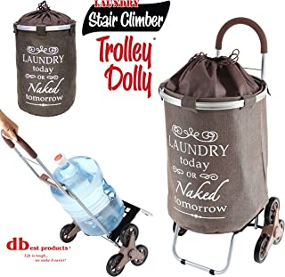 dbest products Stair Climber Laundry Trolley Dolly, Brown Laundry Bag Hamper Basket cart..