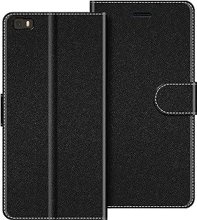 COODIO Funda Huawei P8 Lite con Tapa, Funda Movil Huawei P8 Lite 2015, Funda Libro Huawei P8 Lite Carcasa Magnético Funda para Huawei P8 Lite, Negro