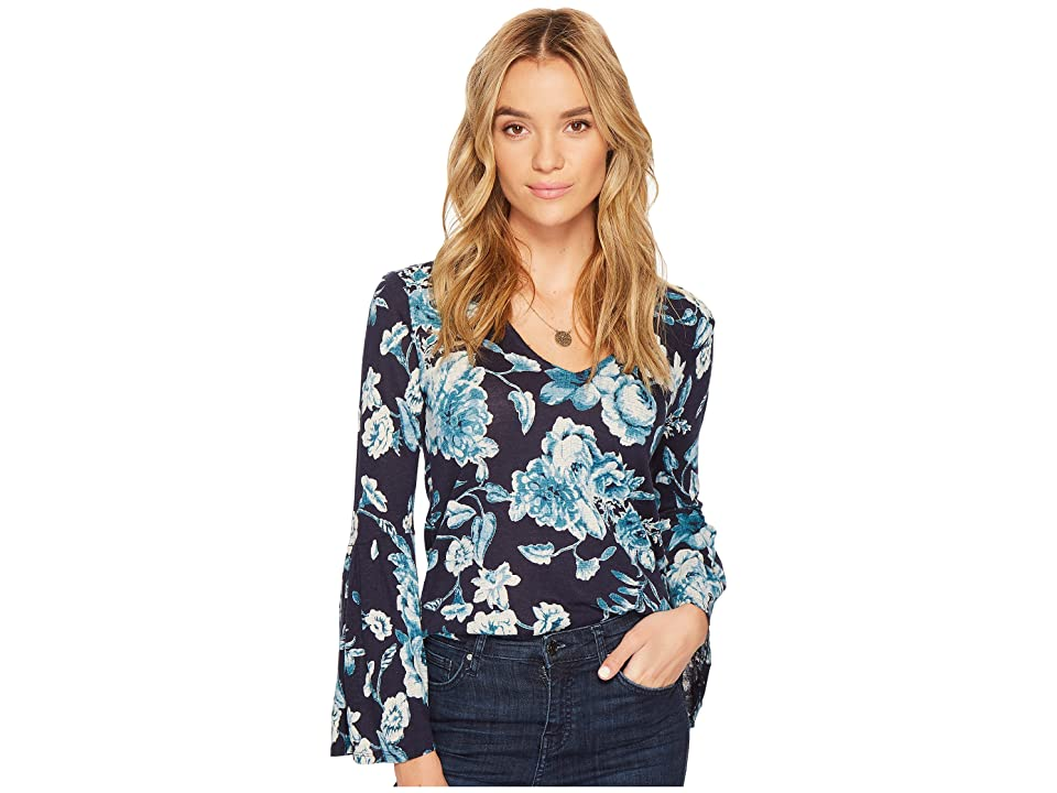 Lucky Brand Bell Sleeve Top (Blue Multi) Women's Long Sleeve Pullover