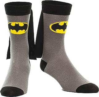 Batman Cape Crew Sock, Gray, Fits Shoe Size 5-12