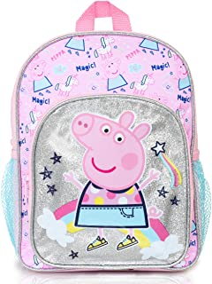 Peppa Pig Mochilas Escolares Juveniles | Mochila De Unicornios para Niñas con Purpurina Plateada Y Arco Iris | Bolso Escol...
