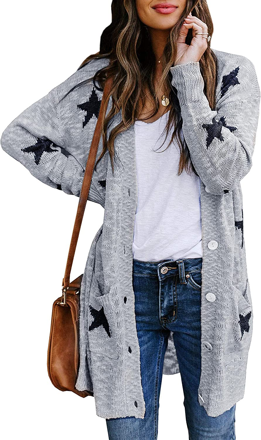 Womens Plus Size Long Sleeve Button Down Knit Cardigans Star Print Open Front Loose Sweaters Outwear with Pockets
