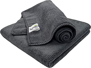 SOFTSPUN Microfiber Cloth - 2 pcs - 40x40 cms - 340 GSM Grey - Thick Lint & Streak-Free Multipurpose Cloths - Automotive Microfibre Towels for Car Bike Cleaning Polishing Washing & Detailing