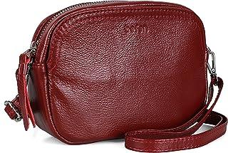 befen Kleine Crossbody Geldbörsen für Frauen, niedliche Leder Schultertasche mit 6 Kartenfächern, burgunderrot, Small