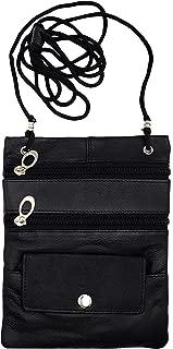 Leather Bikers Travel Neck Pouch Passport Holder Id Wallet Bag Black