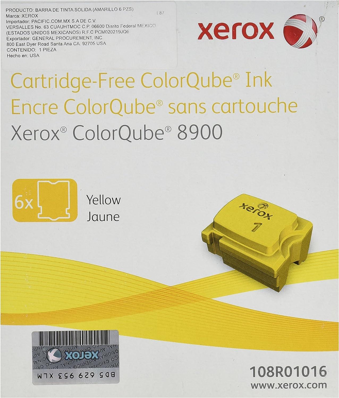 Genuine Xerox Yellow Solid Ink-Sticks for the ColorQube 8900 (6 per box), 108R01016