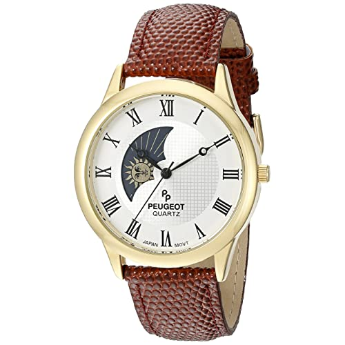 Peugeot Mens 14K Gold Plated Decorative Sun Moon Phase Roman Numeral Watch