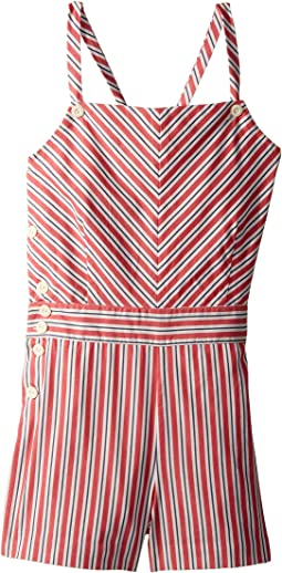 Striped Bow-Back Cotton Romper (Little Kids/Big Kids)