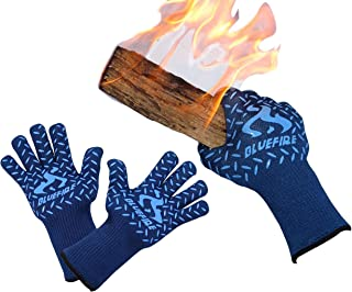 BlueFire Gloves BBQ Grill Firepit Oven Mitts Heat Resistant 932 Degrees F Lab Certified..