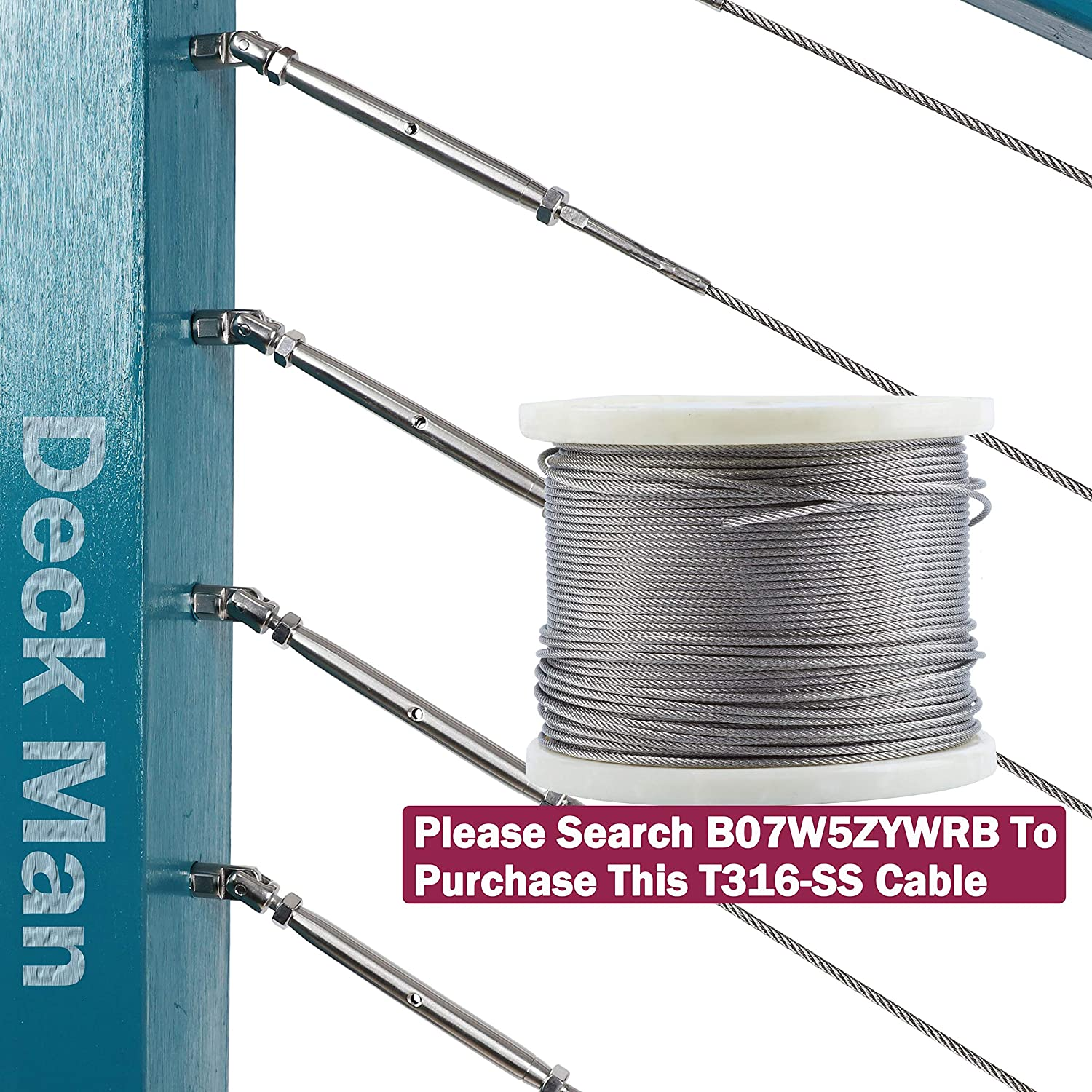 Deck Man 1//8 inch T316 Stainless Steel Adjustable Angle Single-Screw Cable Railing Kit//Hardware for Wood Posts,Marine Grade 2 Pairs