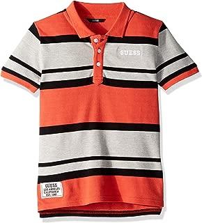 GUESS Boys' Big Short Sleeve Scuffy Stripped Polo Shirt