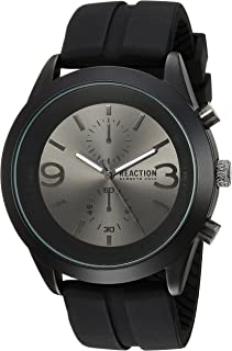 Kenneth Cole REACTION Men's Analog-Quartz Metal Case Stainless-Steel/Silicone Strap Casual Watch